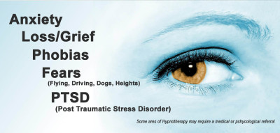 Anxiety, Loss, Grief, Phobias, Fears, PTSD, Hypnosis